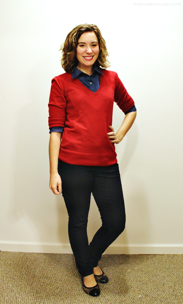 Blue Oxford Red Sweater Skinny Jeans 1