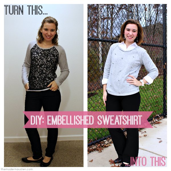 DIY Embellished Sweatshirt Before and After