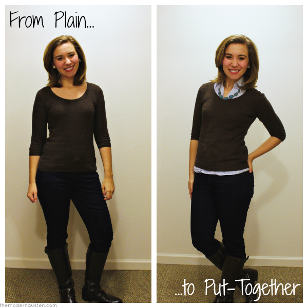 From Plain to Put Together Brown Sweater Blue Oxford Statement Necklace Skinny Jeans Boots