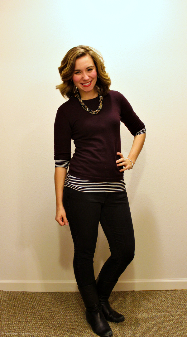 Maroon Sweater Striped Tee Skinny Jeans Black and Gold Statement Necklace 1