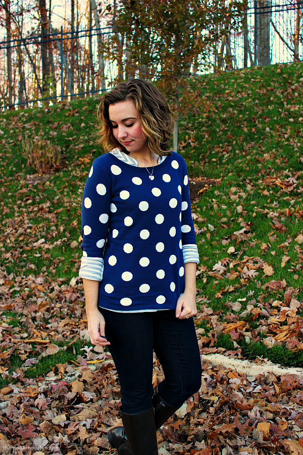 Polka Dot Sweater Striped Tee Skinny Jeans Boots 1
