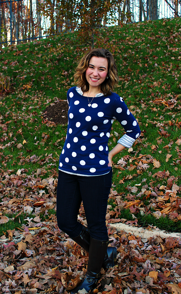 Polka Dot Sweater Striped Tee Skinny Jeans Boots 3