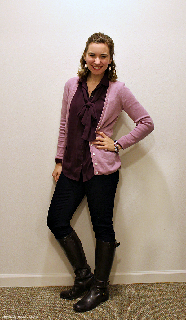 Purple Bow Tie Blouse Pink Cardigan Skinny Jeans Boots 1