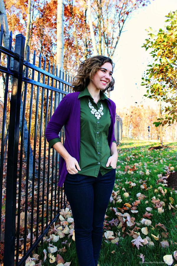 Purple Cardigan Olive Green Oxford Skinny Jeans 1