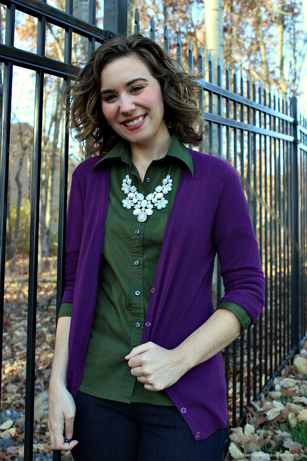 Purple Cardigan Olive Green Oxford Skinny Jeans 2