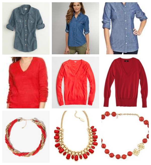 chambray red sweater red necklace options