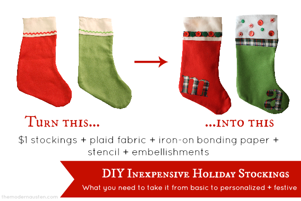 DIY Inexpensive Holiday Stockings Materials