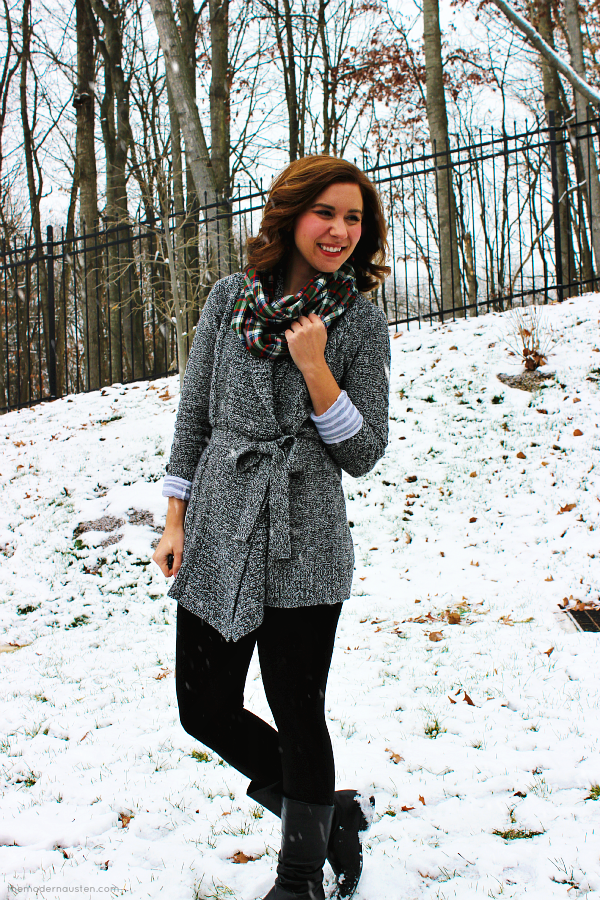 Gray Sweater Cardigan Black Leggings Boots Plaid Scarf 3