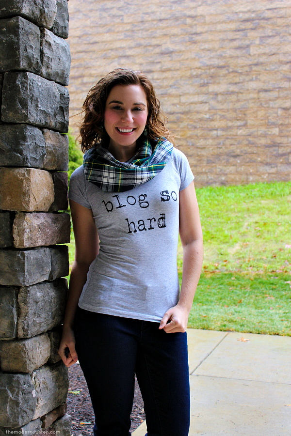 Plaid Infinity Scarf Blog So Hard Tee Skinny Jeans Boots 3