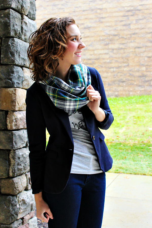 Plaid Infinity Scarf Blog So Hard Tee Skinny Jeans Navy Blazer Boots 2