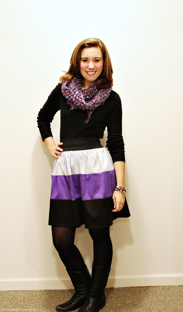 Outfits from 2013: Purple Colorblock Skirt Black Tee Purple Winter Scarf Tights Boots 1