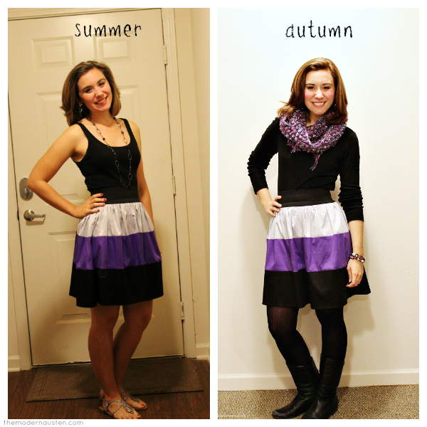 Summer and Autumn Refashioned Colorblock Skirt Looks