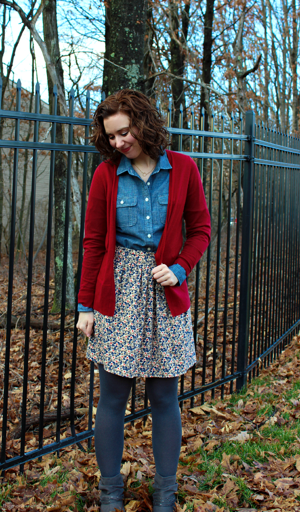 Chambray Red Cardigan Skirt Tights 2