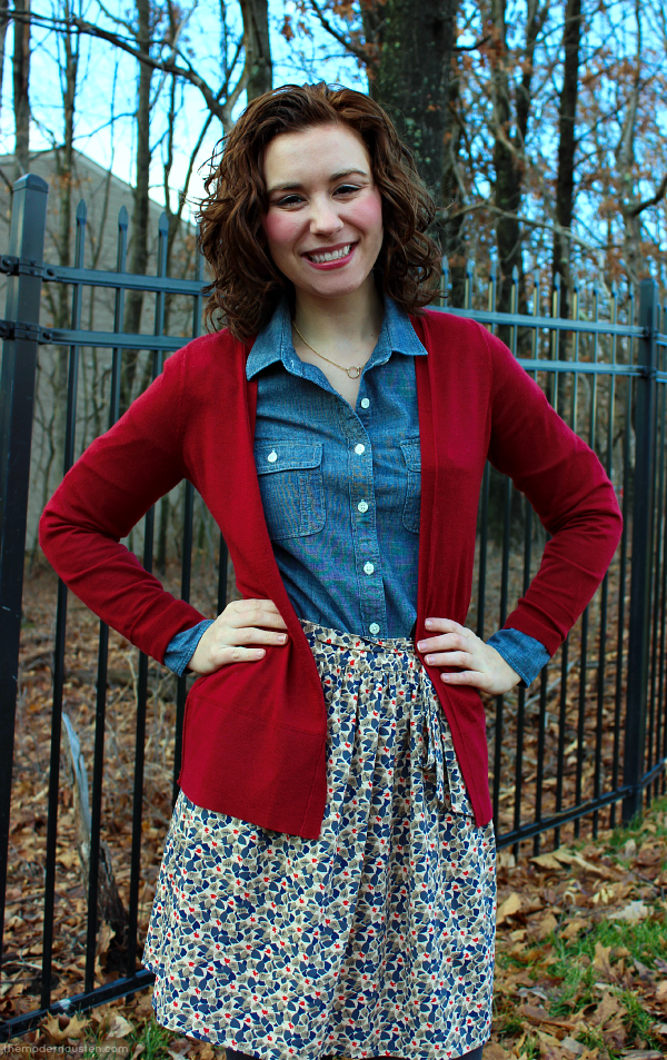 Chambray Red Cardigan Skirt Tights 3