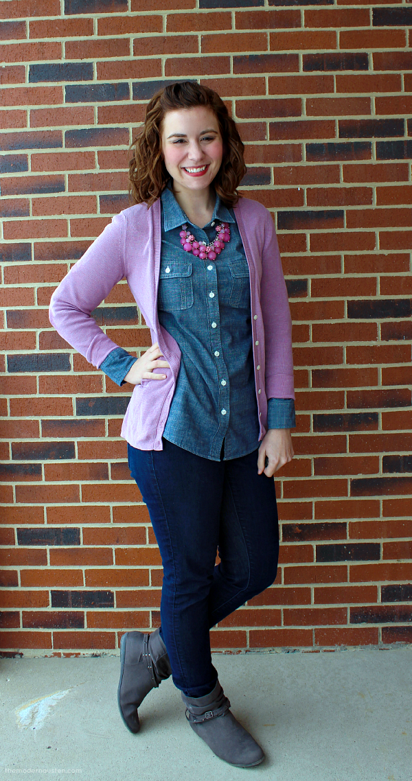 Chambray-Lavender-Cardigan-Jeans-Boots-1