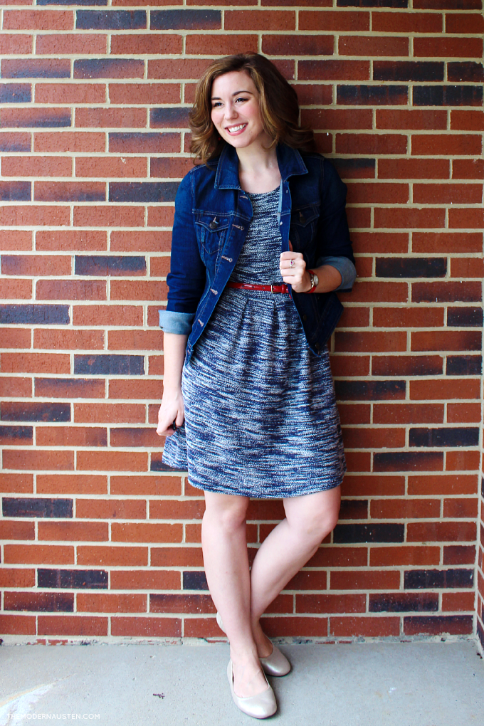 Pair a jean jacket with a spring dress