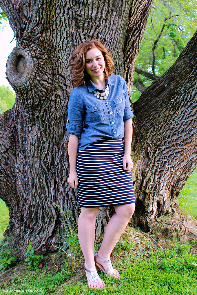 Chambray half tucked into a striped ponte pencil skirt