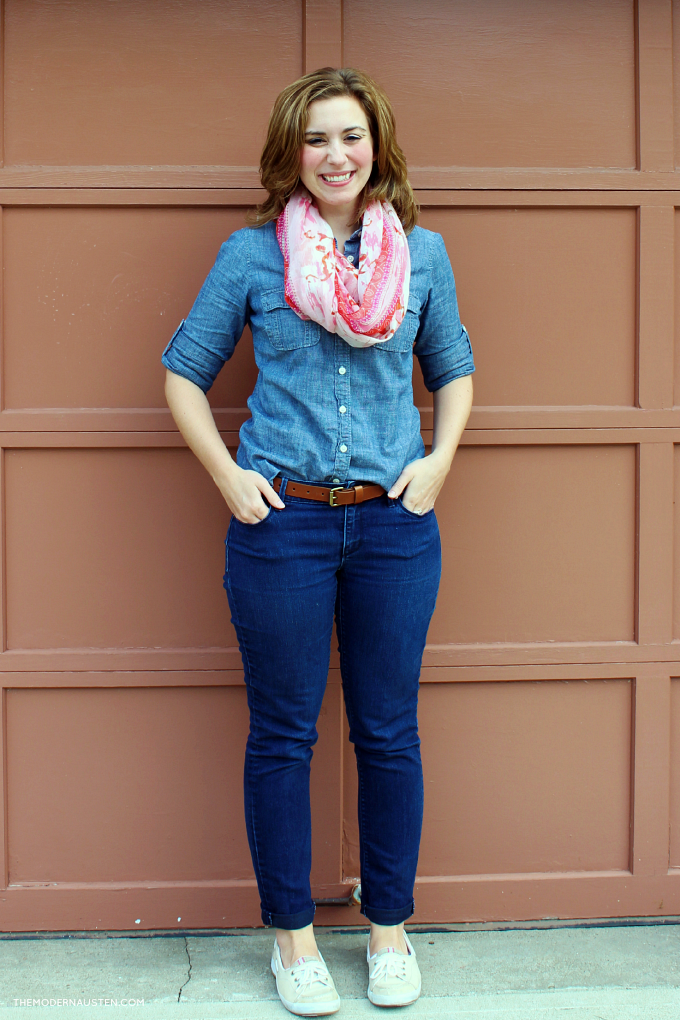 Break up an all denim and chambray look with a colorful scarf