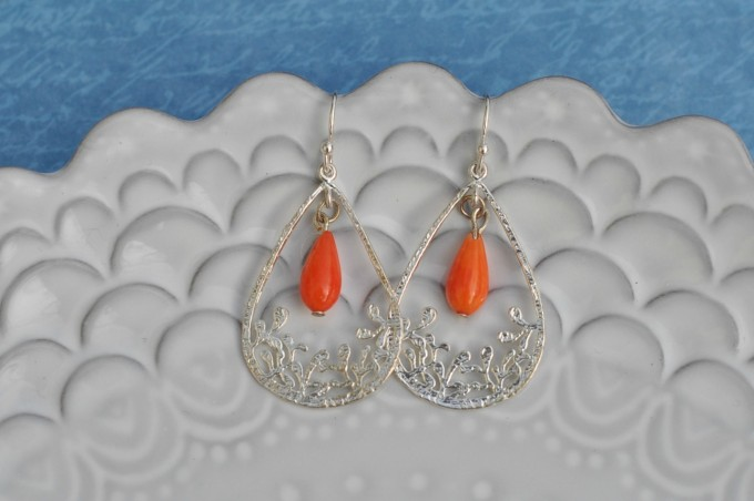 Orange Coral Reef Earrings