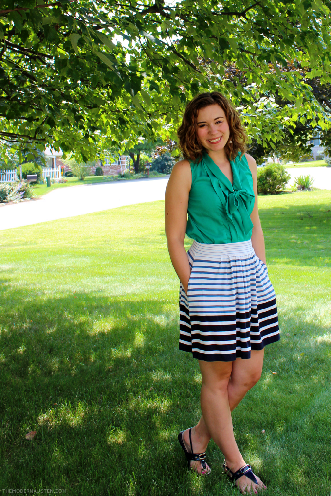 Pair a bright hue with a neutral striped skirt for a summer look