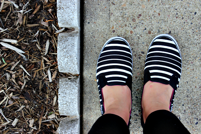 Striped Keds slip on shoes