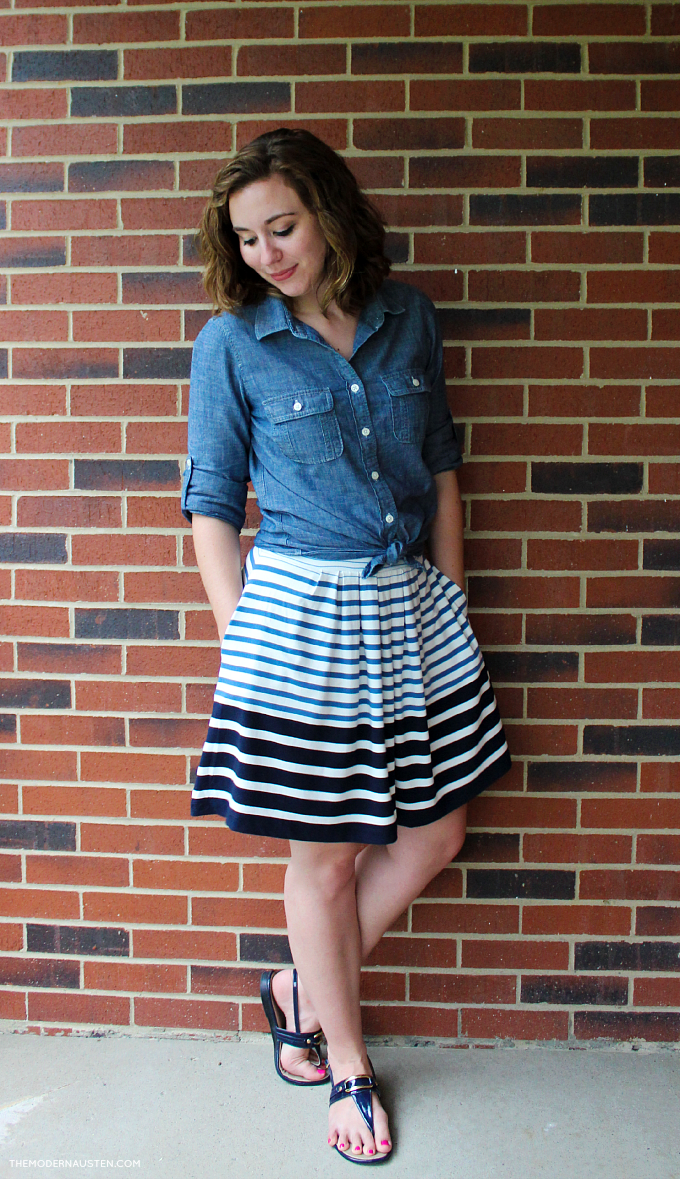 Tie a chambray blouse over a flowy cotton skirt