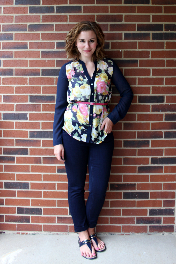 Modern Sheer Floral and Navy StitchFix Blouse