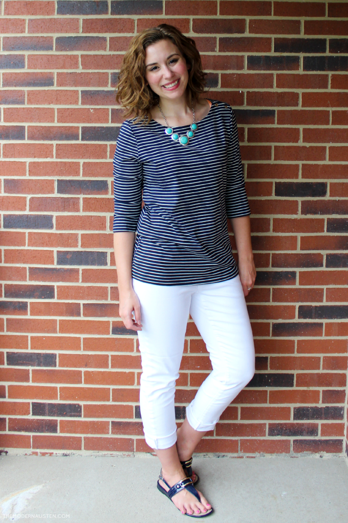 Striped Boatneck 34 Sleeved Top paired with white jeans makes for a comfortable nautical summer look