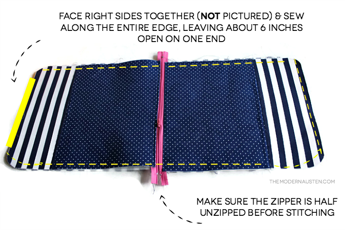 After zipper is installed face right sides together and stitch leaving a gap for turning