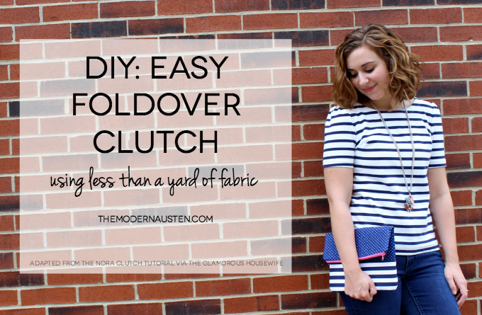 DIY Easy Foldover Clutch Tutorial using less than a yard of fabric