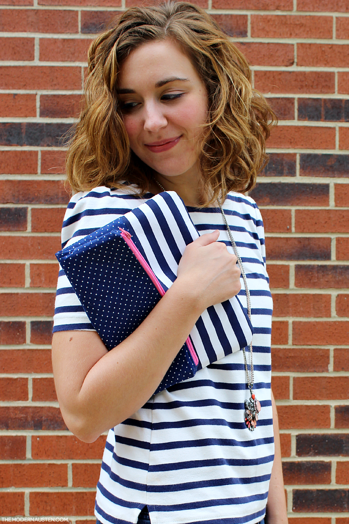 Stripes and mini polka dots are perfect for pattern mixing
