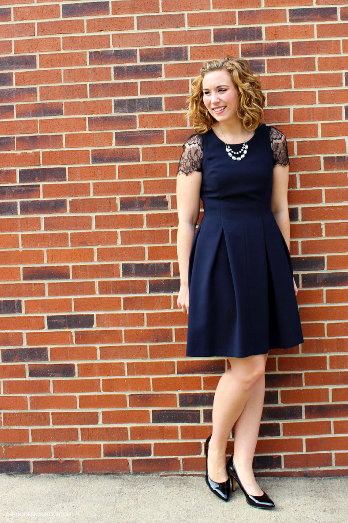Navy LOFT Scuba Sleeveless dress with Black Lace Sleeve Sweater