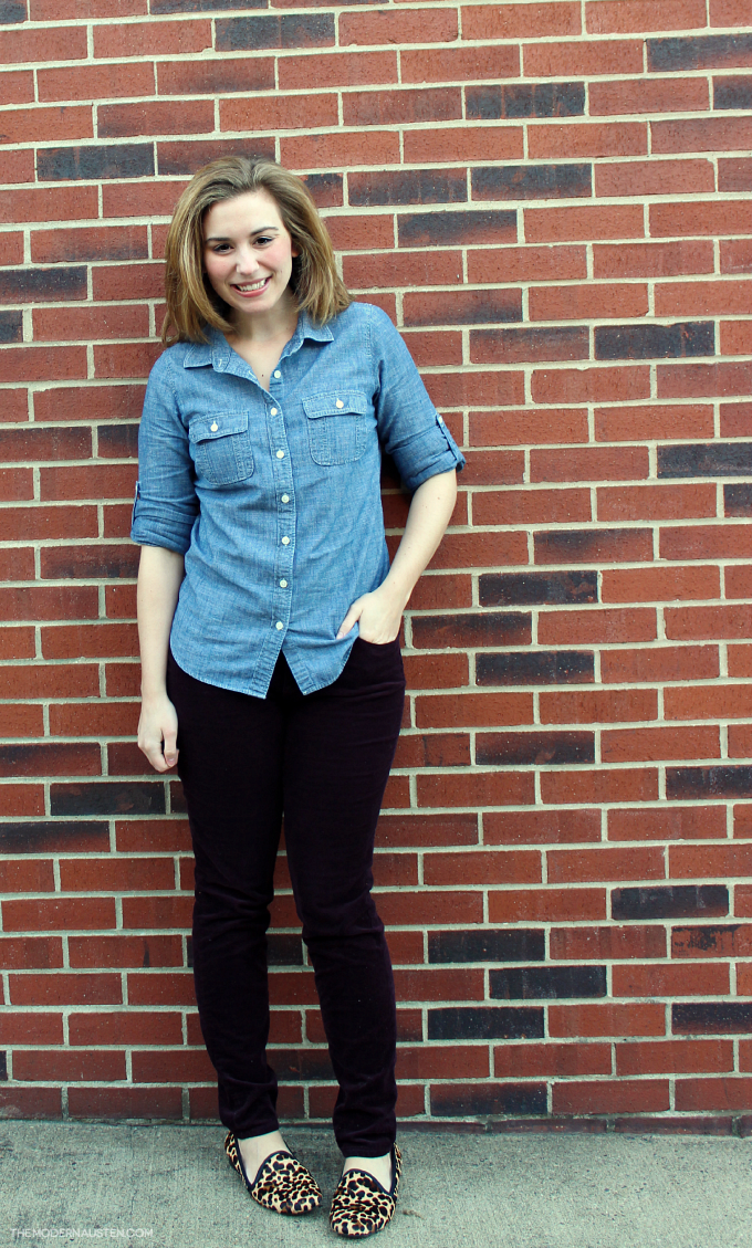 Fall look Chambray, Corduroys, and Leopard