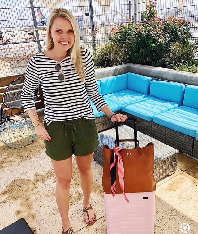 Travel day attire for a quick trip to one of my favorite places - Oxford, MS! This outfit was so comfy to travel in and these cute shorts come in a bunch of great colors that are perfect for summer! You can shop this look through the  @liketoknow.it app http://liketk.it/2wshV #liketkit