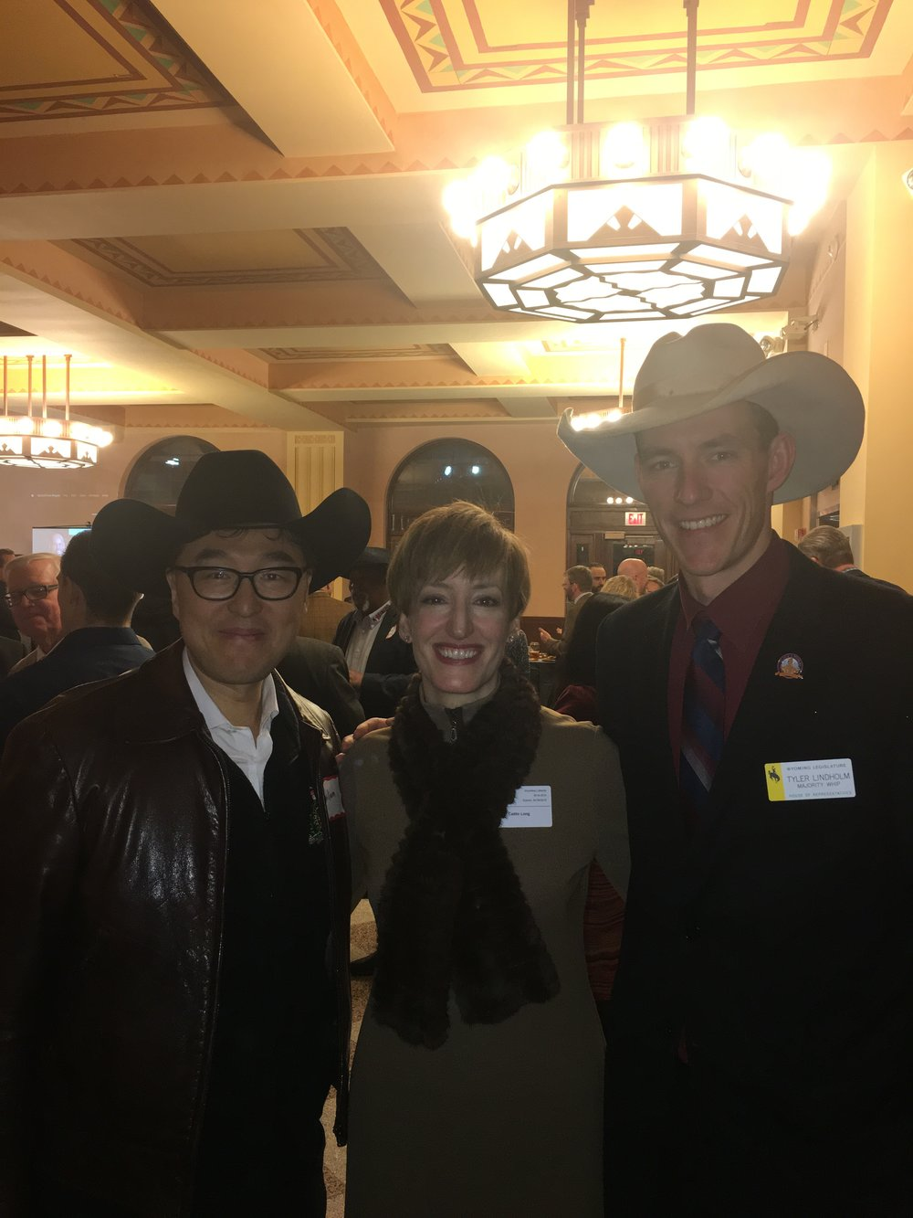 With my friends Caitlin Long & Representative Tyler Lindholm (supporters of the bills, now law).