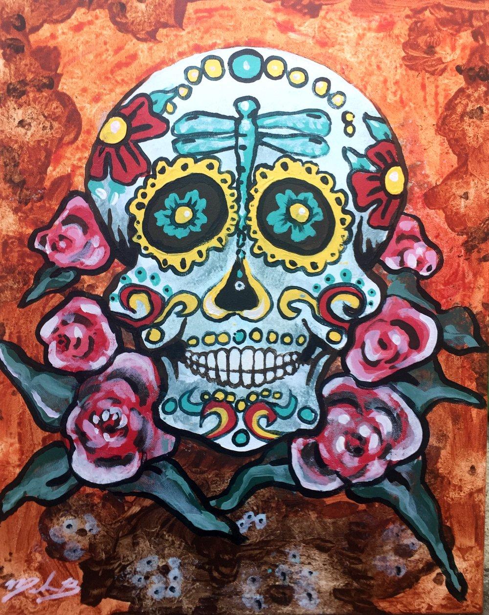 Candy Skull - 16 x 20