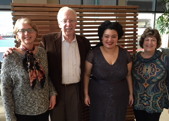 Sarah Duvall, Norm Krasne, Jasmin White and Patty Cavanaugh at Benaroya Hall,Seattle