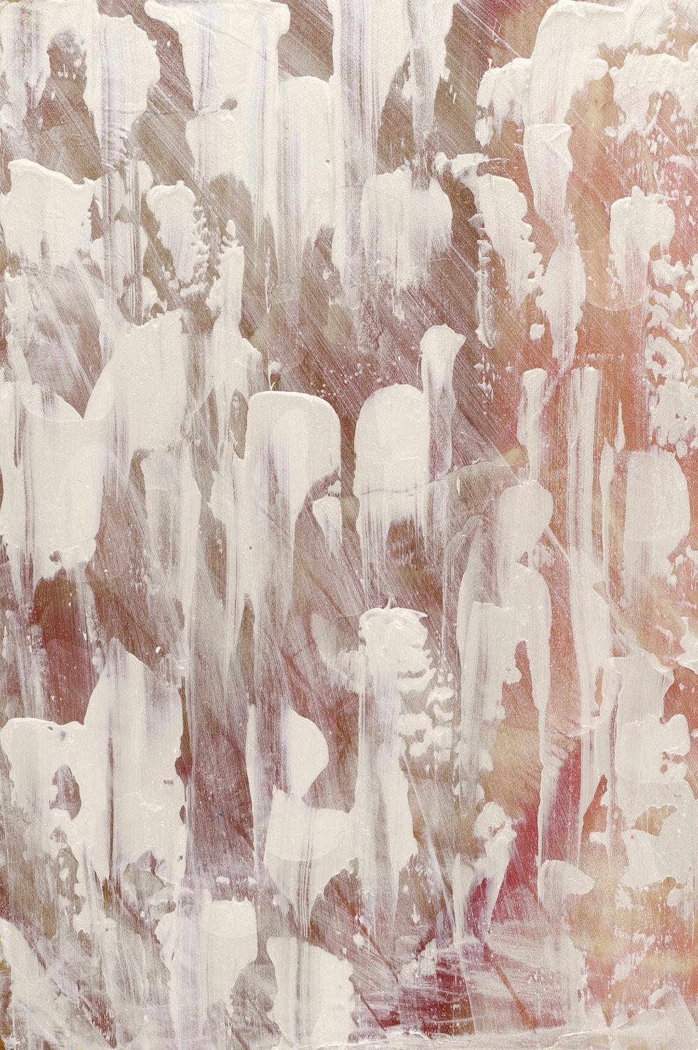 Untitled , 2015, acrylic on Japanese Magnolia, 30x20cm.