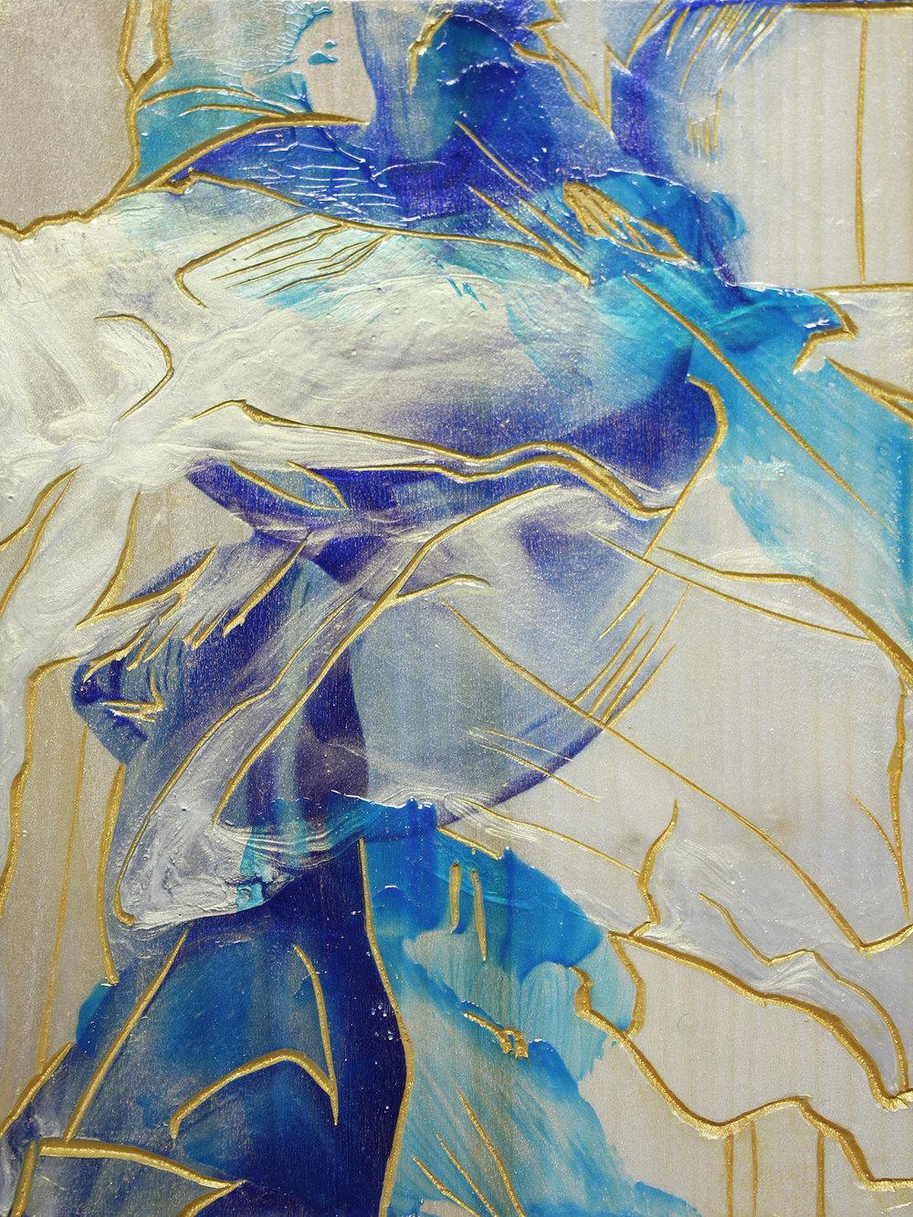 Pillar , 2015, acrylic on Japanese Magnolia, 20x15cm. (acquired)