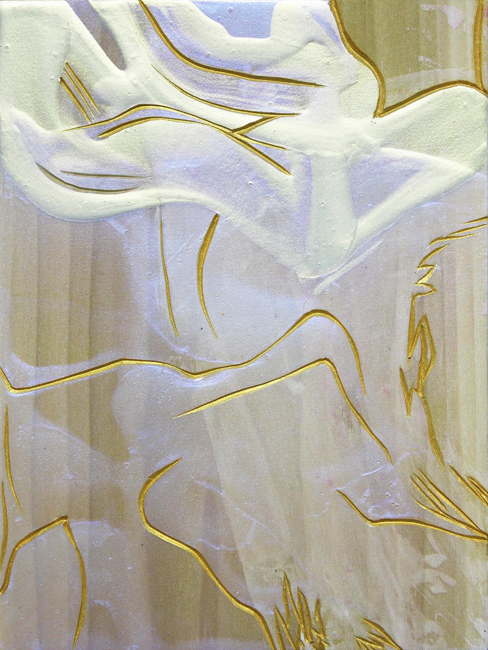 Awaited , 2015, acrylic on Japanese Magnolia, 20x15cm. (acquired)