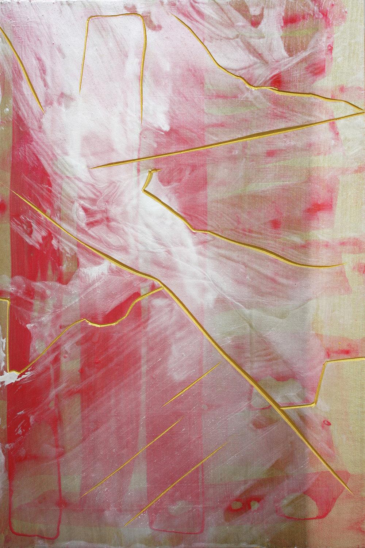 Impart , 2015, acrylic on Japanese Magnolia, 30x20cm
