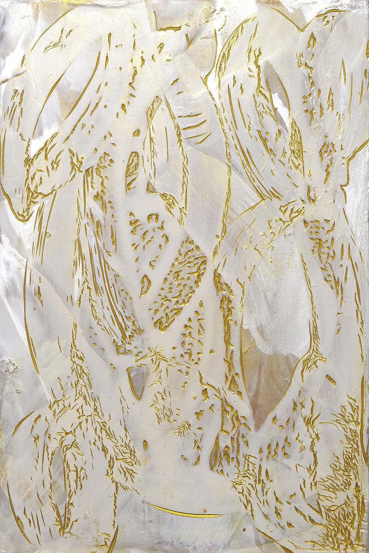 Perpetua , 2018, acrylic on carved Japanese Magnolia, 30x20cm.