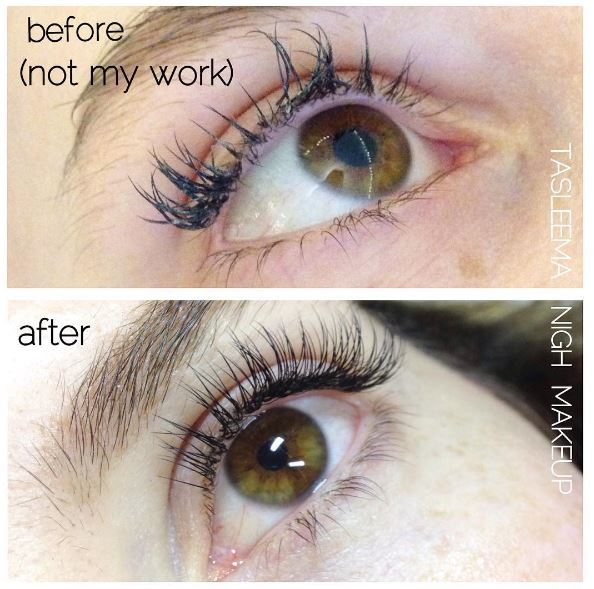 Bad Lashes - before and after (Classic Light Set Don't let this happen to you! Poor isolation, heavy thick lash extensions and way too much glue.