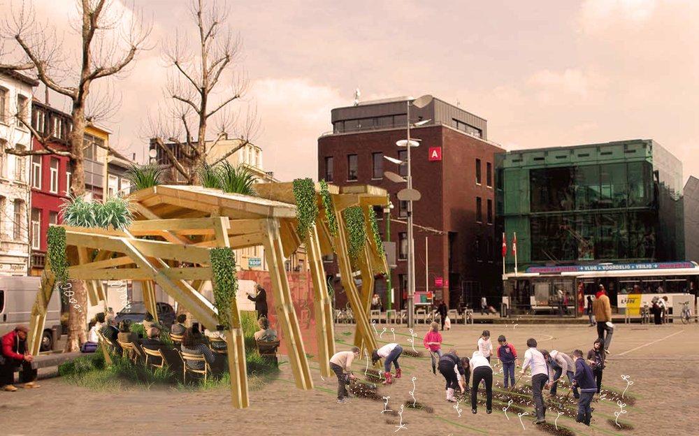 Dit is enkel een voorbeeld van wat het zou kunnen worden. Er wordt vooraf eigenlijk geen uitgewerkt plan gemaakt: het wordt een creatie van de buurtbewoners zelf!