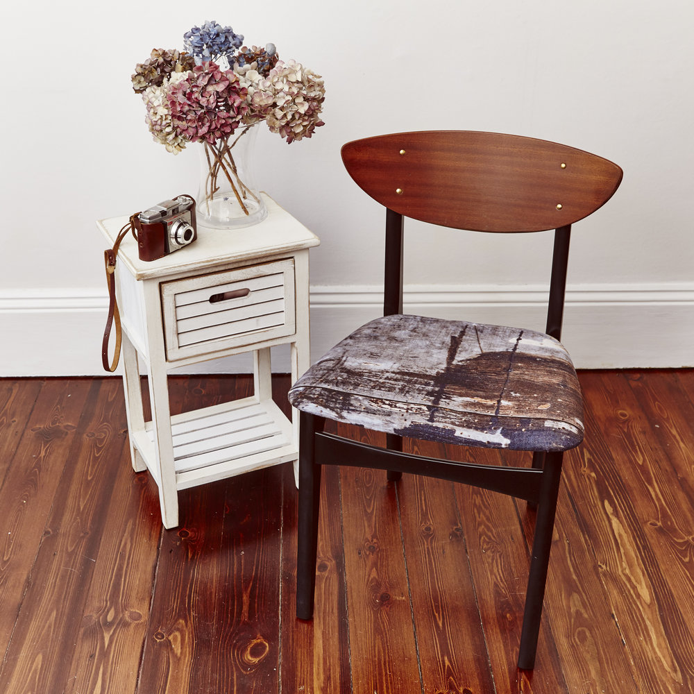 Teak and Beech wood chairs, designer fabric