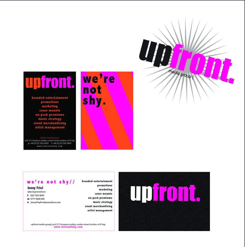 "UPFRONT   Jonny wanted to rebrand the business and introduce a new logo and business stationery, along with a company strap line. We worked together thinking of new ideas and slogans, I provided various options for logos and business cards. A classic, impactful font was chosen to shout loudly what Upfront were about.  "" Really fantastic job Ruth and such fun to work with!""  Jonny Friel -  Upfront Promotions"
