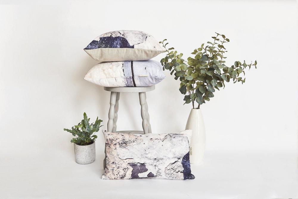 Coastal inspired linen cushions, aspect