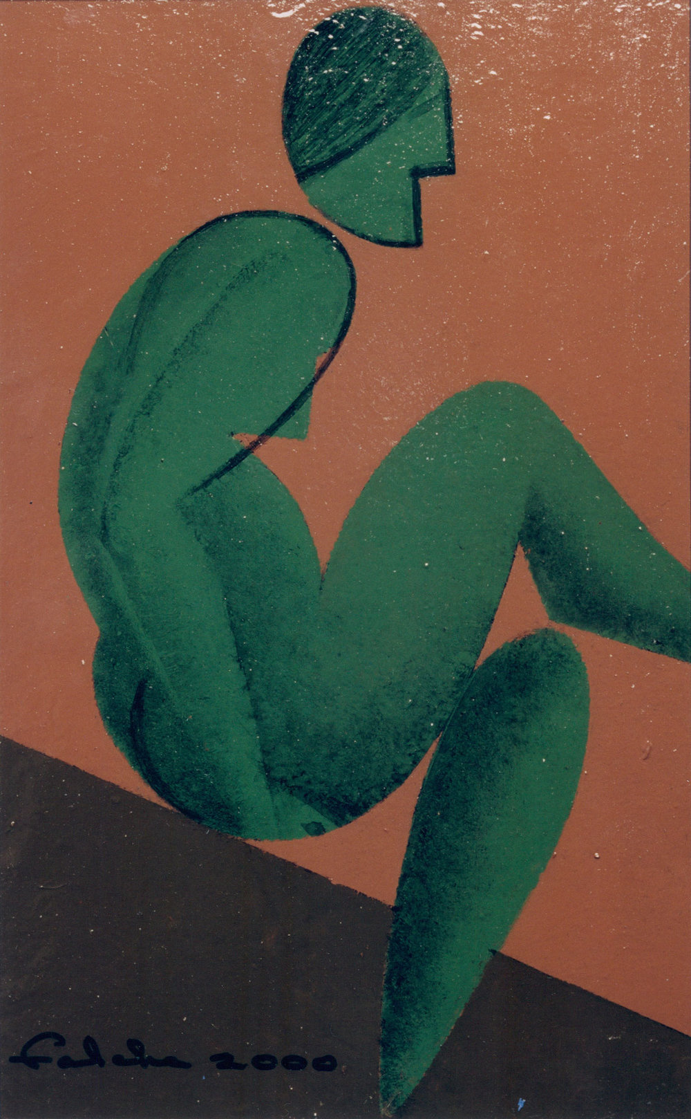 Green sitting figure