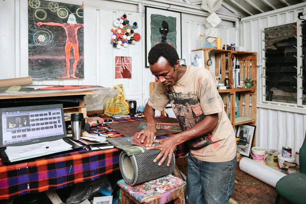 David Thuku in his studio