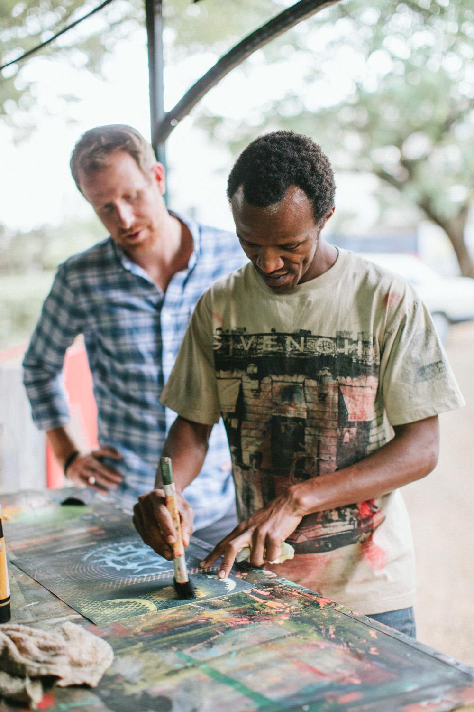 Montague and David Thuku in his studio, Nairobi, Kenya Photograph by Sasithon Pooviriyakul